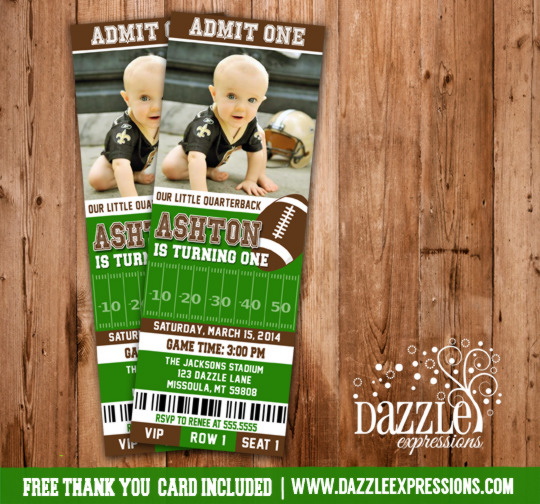 Printable Football Ticket Photo Birthday Invitation Kids