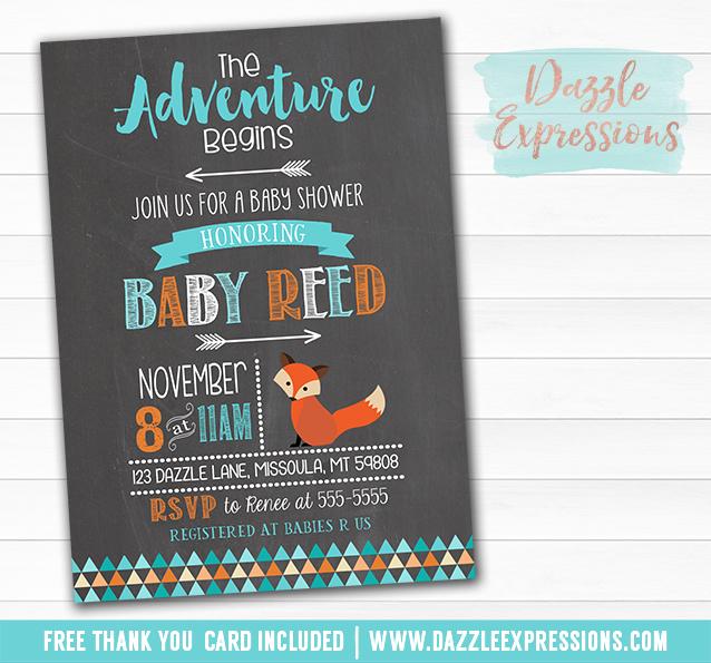 Printable Tribal Fox Chalkboard Baby Shower Invitation