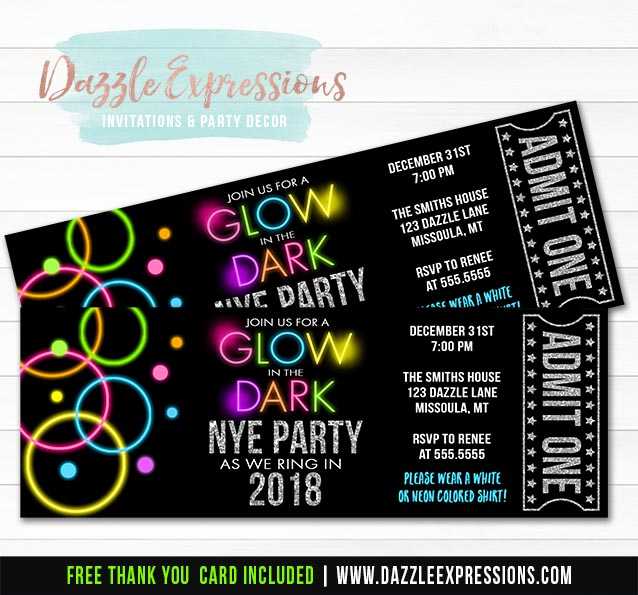 Printable Glow In The Dark New Years Eve Ticket Invitation