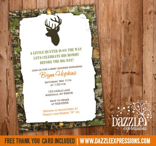 Mossy Oak Hunting Baby Shower Invitation Camo Deer
