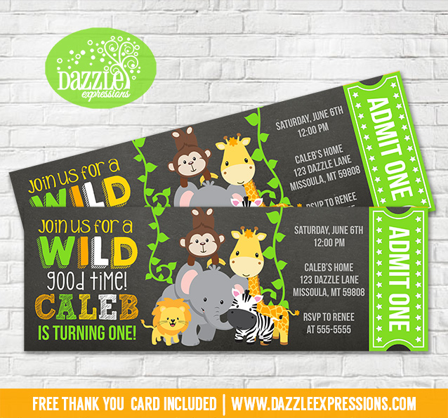 Printable Jungle Chalkboard Ticket Birthday Invitation