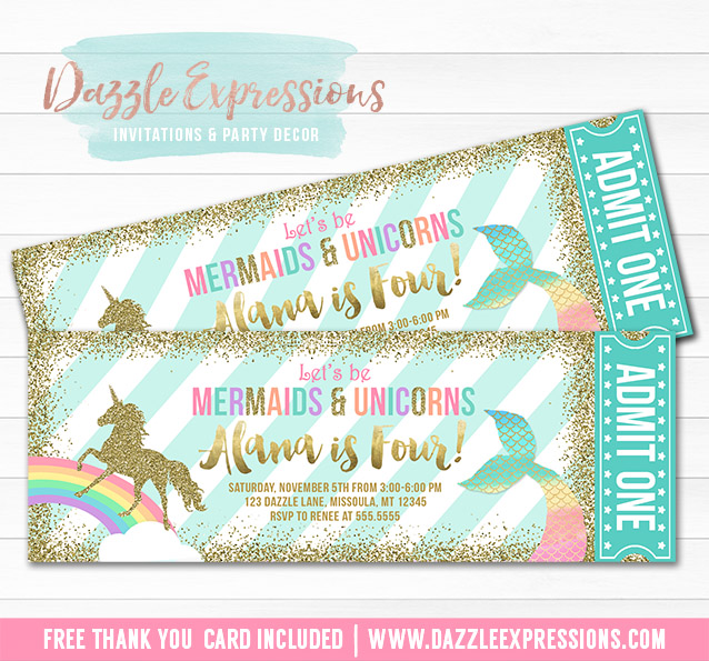 Printable Mermaid And Unicorn Ticket Invitations Magical