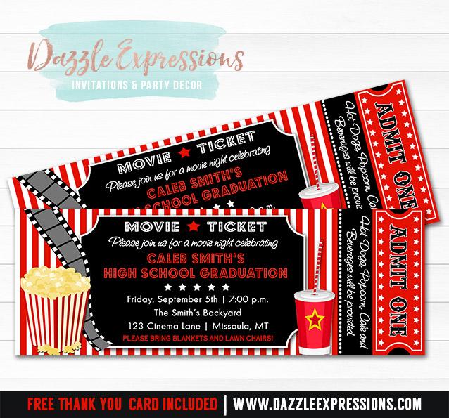 Printable Movie Ticket Graduation Party Invitation 8th