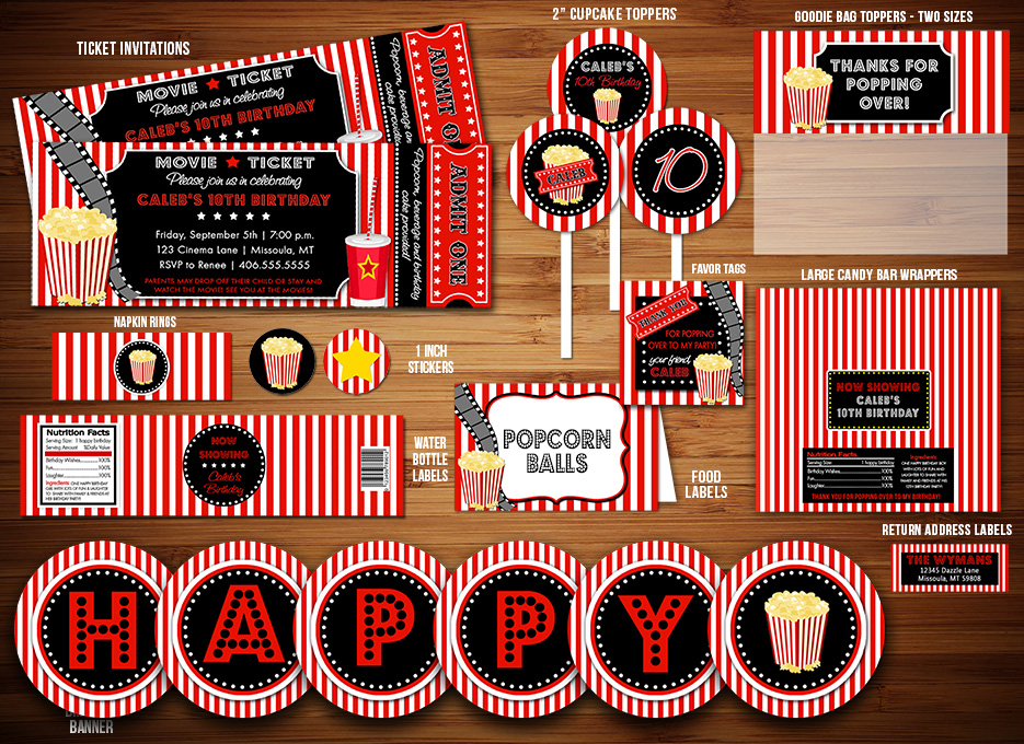 Printable Movie Night Birthday Party Package Decorations