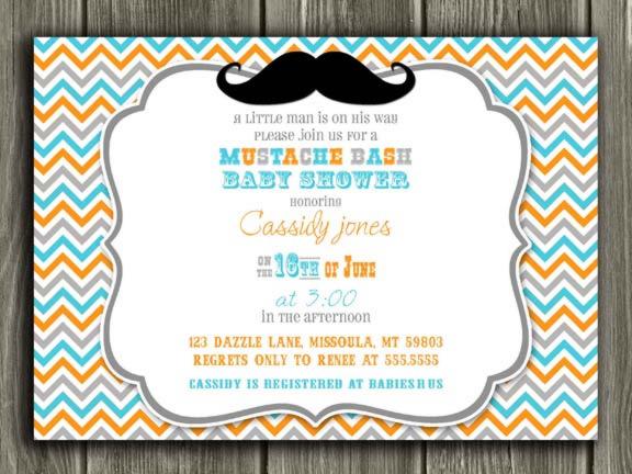 Printable Little Man Mustache Baby Shower Invitation