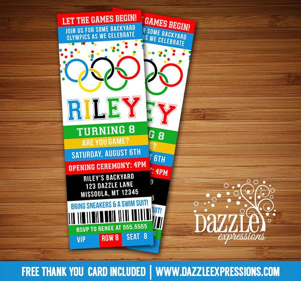 Printable Kids Olympic Games Birthday Invitation FREE