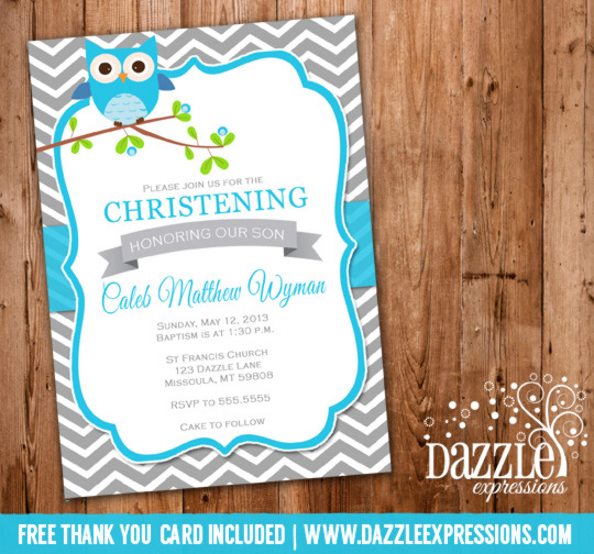Owl Chevron Baptism Or Christening Invitation Printable