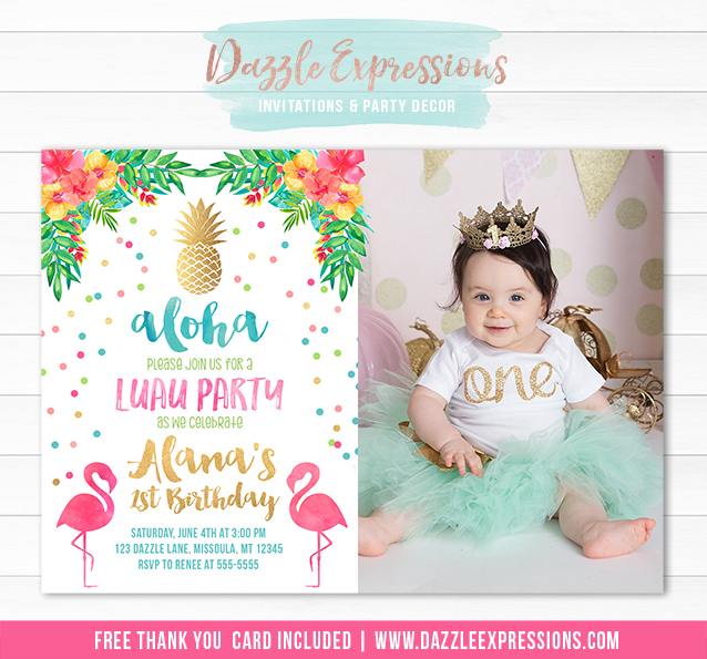 Printable Gold Pineapple Flamingo Birthday Invitation