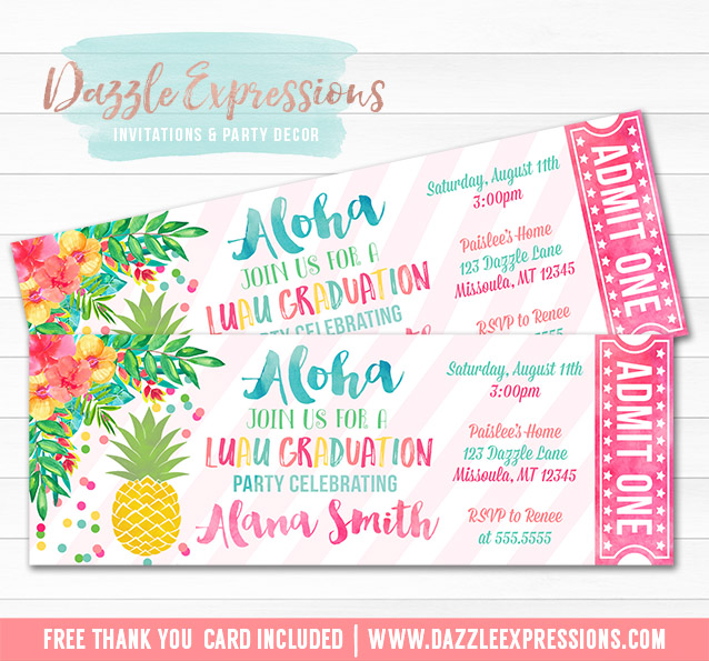 Printable Luau Pineapple Graduation Party Ticket