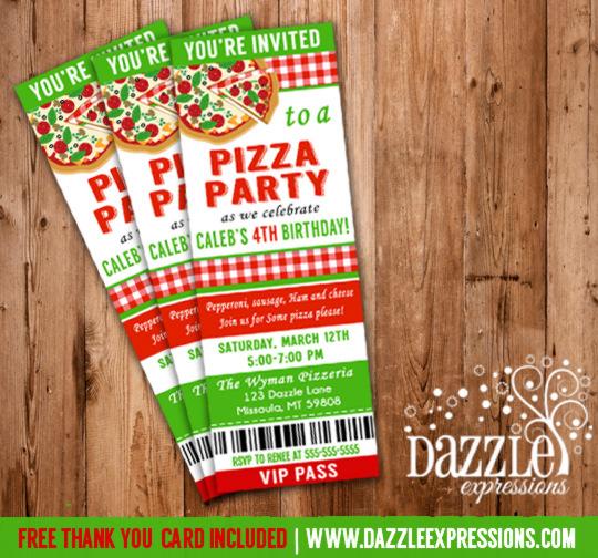 Printable Kids Pizza Party Ticket Birthday Invitation
