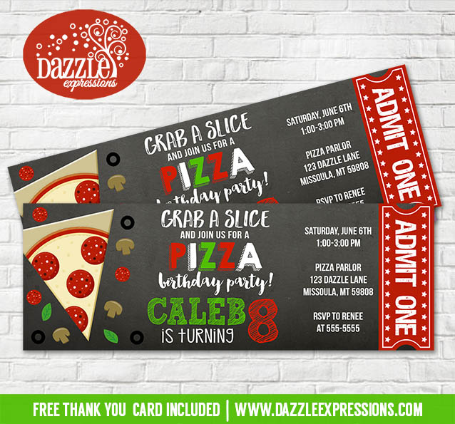 Printable Chalkboard Pizza Party Ticket Birthday