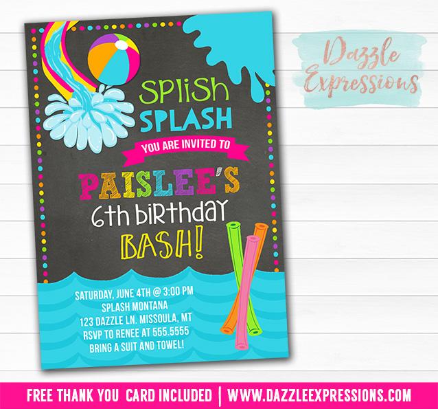 Printable Pool Party Chalkboard Birthday Invitation