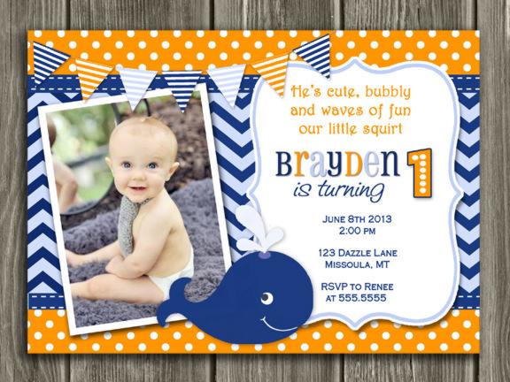 Printable Boys Preppy Whale Birthday Invitation 1st