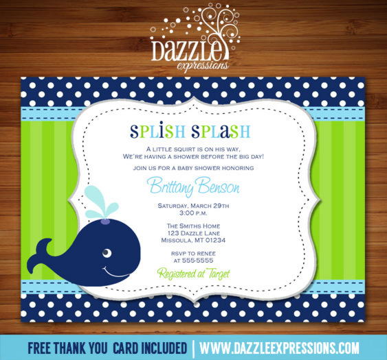 Printable Blue And Green Preppy Whale Baby Shower