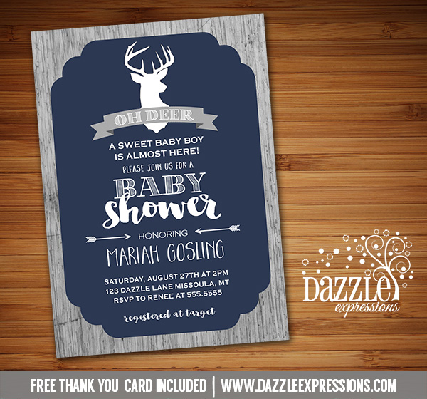 Printable Rustic Oh Deer Baby Shower Invitation Wood
