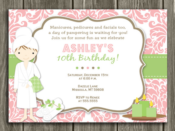 Printable Spa Birthday Invitation Salon Pedicure