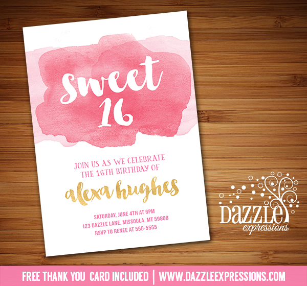 Printable Watercolor Sweet Sixteen Birthday Invitation