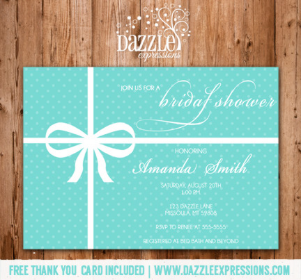 Tiffany Blue Bridal Shower Invitation Free Thank You Card Included