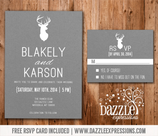 Modern White And Gray Deer Wedding Invitation RSVP Card