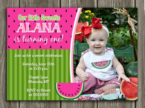 Printable Watermelon Birthday Photo Invitation Girl