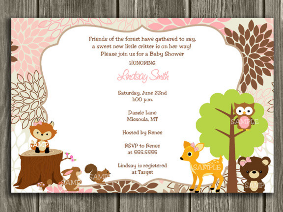 Printable Pink And Brown Woodland Baby Shower Invitation