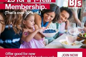 AMAZING DEAL- Get a 1 Year BJ's Membership For Only $25!