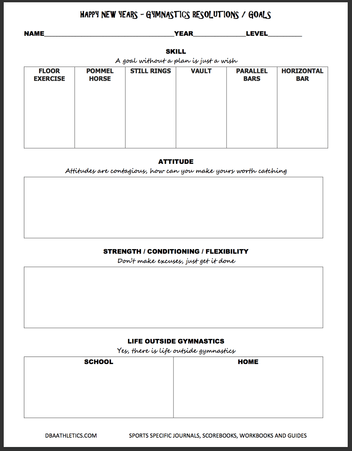 New Year Goals Worksheet