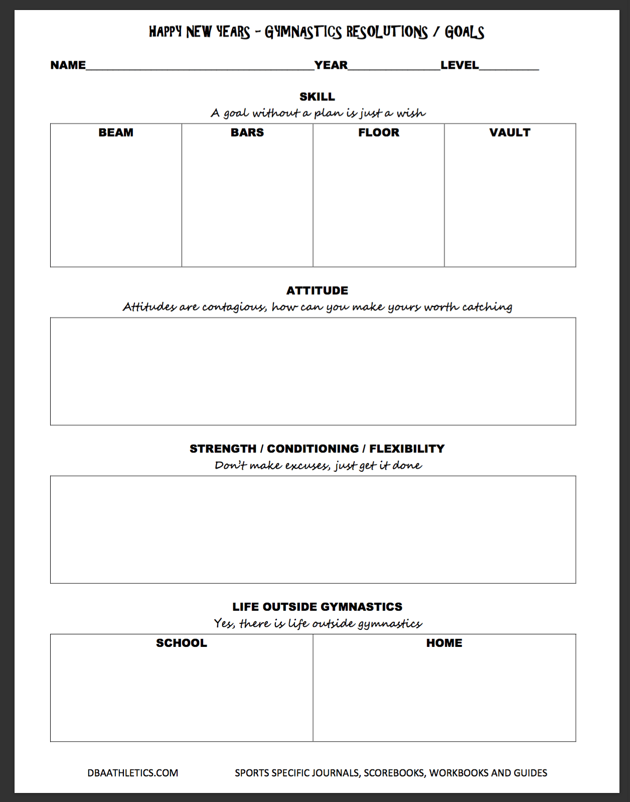 New Year S Resolution Worksheet