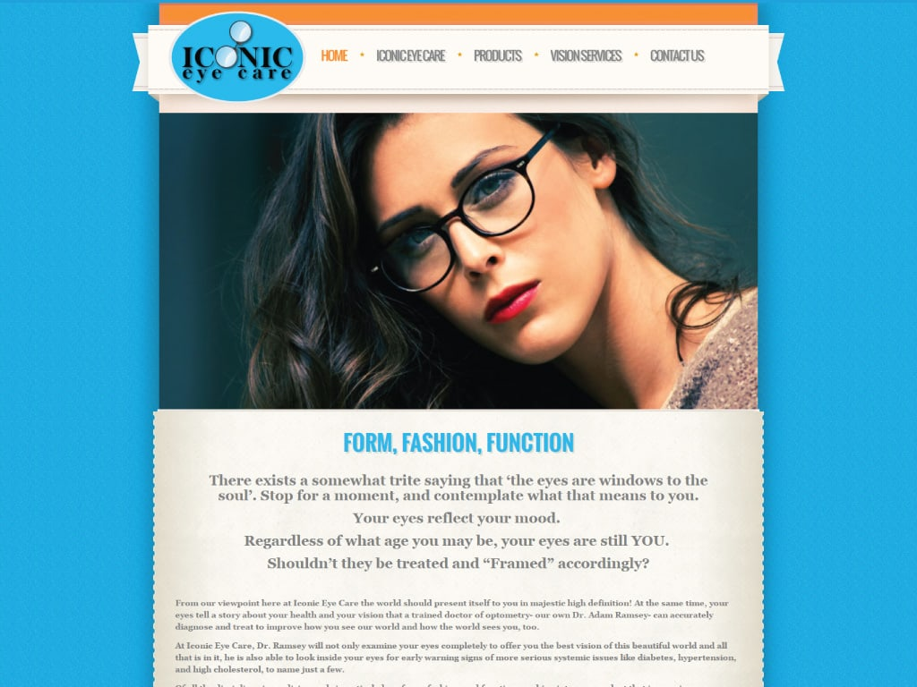 Iconic Eye Care website by dba designs & communications - Denver, CO