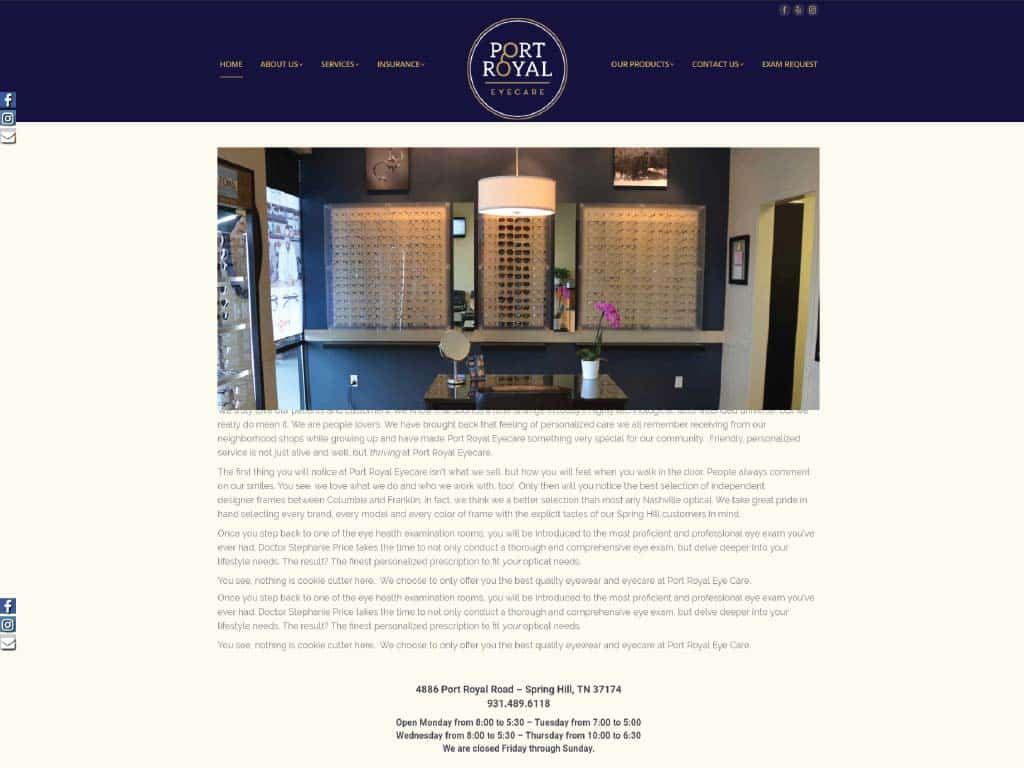 Port Royal Eyecare website by dba designs & communications