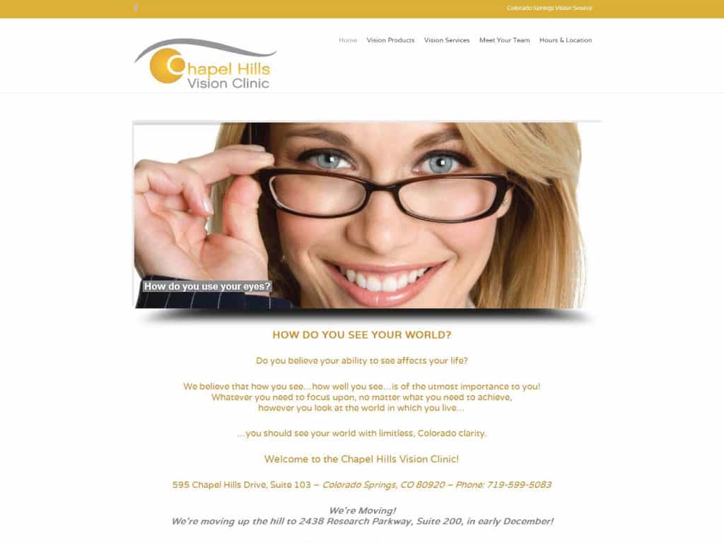 Chapel Hills Vision Care website by dba designs & communications - Denver, CO
