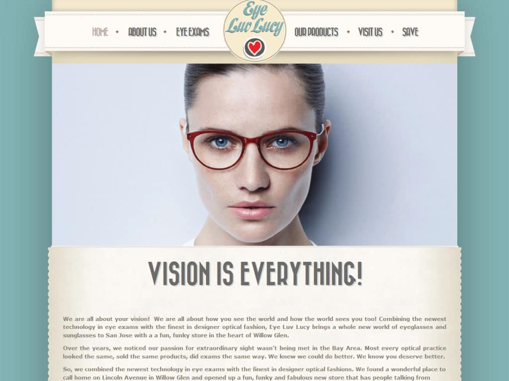Eye Luv Lucy website by dba designs & communications - Denver, CO