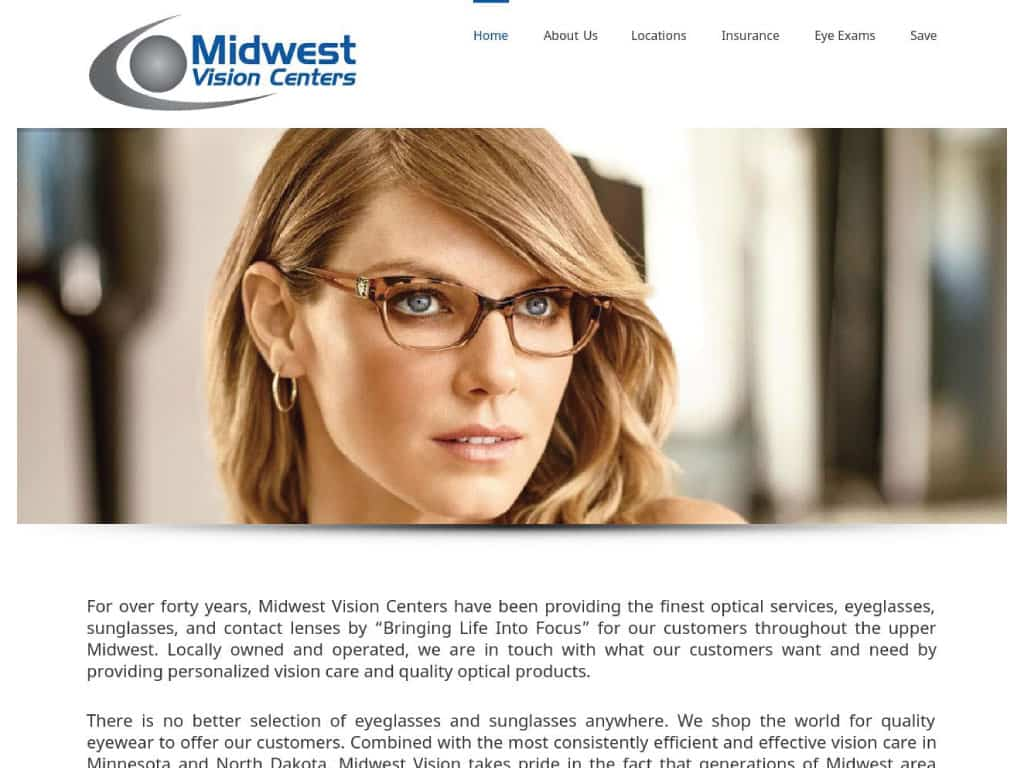 Midwest Vision Centers website by dba designs & communications - Denver, CO