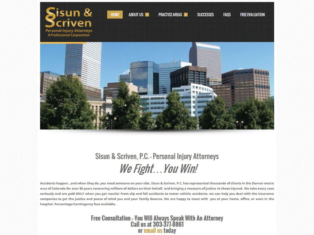 Sisun & Scriven website by dba designs & communications - Denver, CO