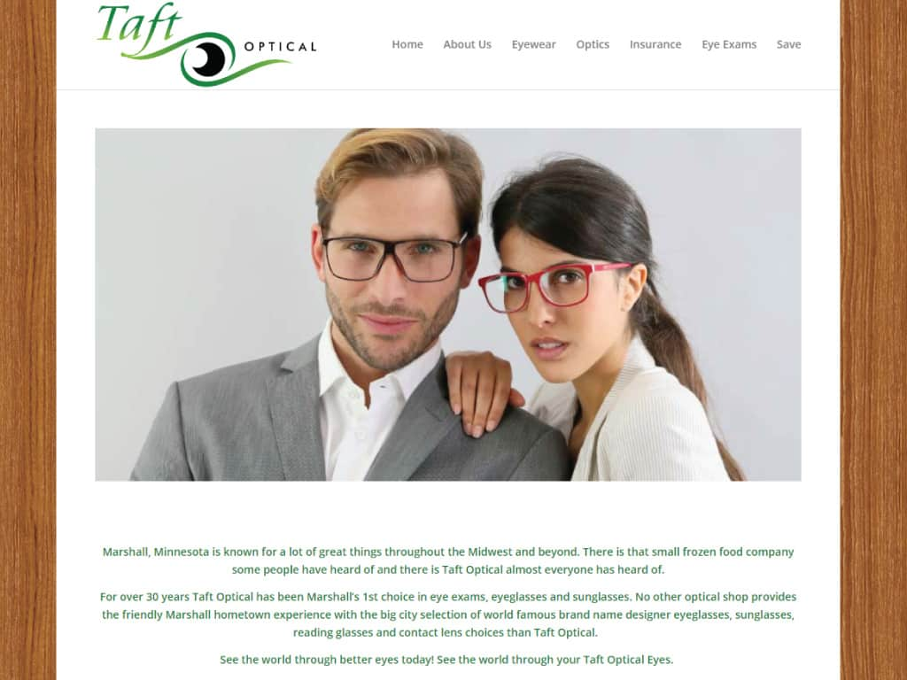 Taft Optical website by dba designs & communications - Denver, CO