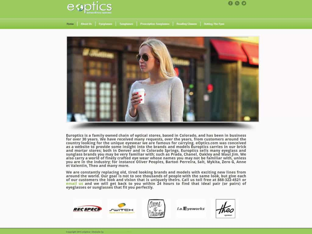 Eoptics website by dba designs & communications - Denver, CO