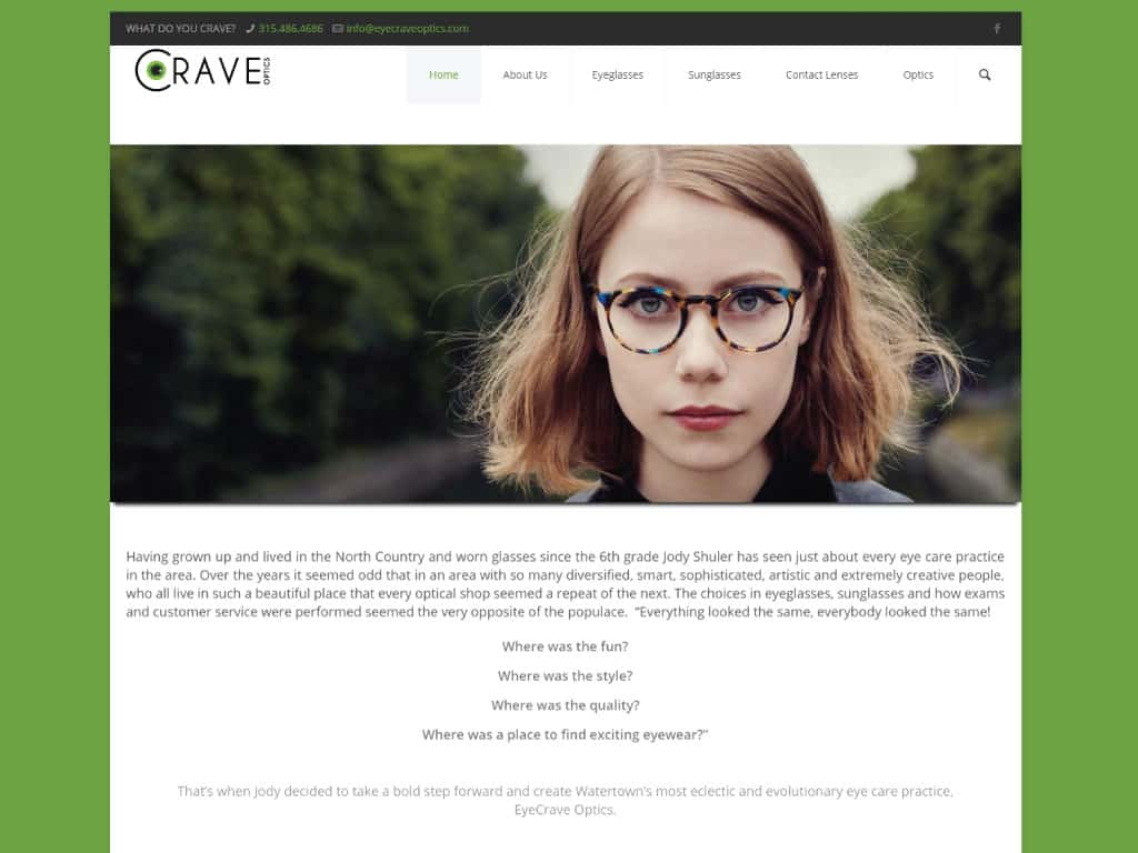 Eye Crave Optics website by dba designs & communications - Denver, CO