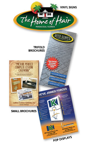 Vinyl Signs, Trifold Brochures, Small Brochures, Pop Displays