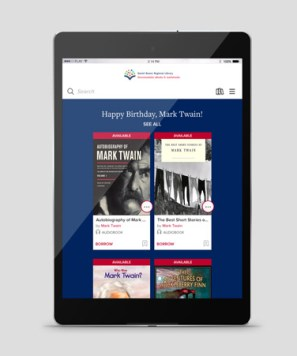 tablet showing library's OverDrive home page