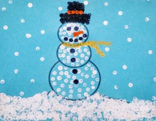 Photograph of a snowman painting