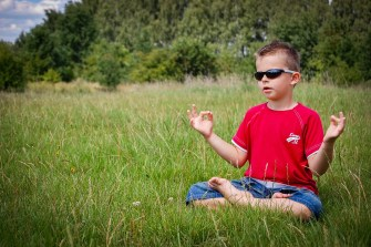Photo of child meditating