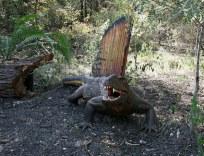 model of Dimetrodon in a forest
