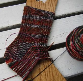Knitted sock in progress