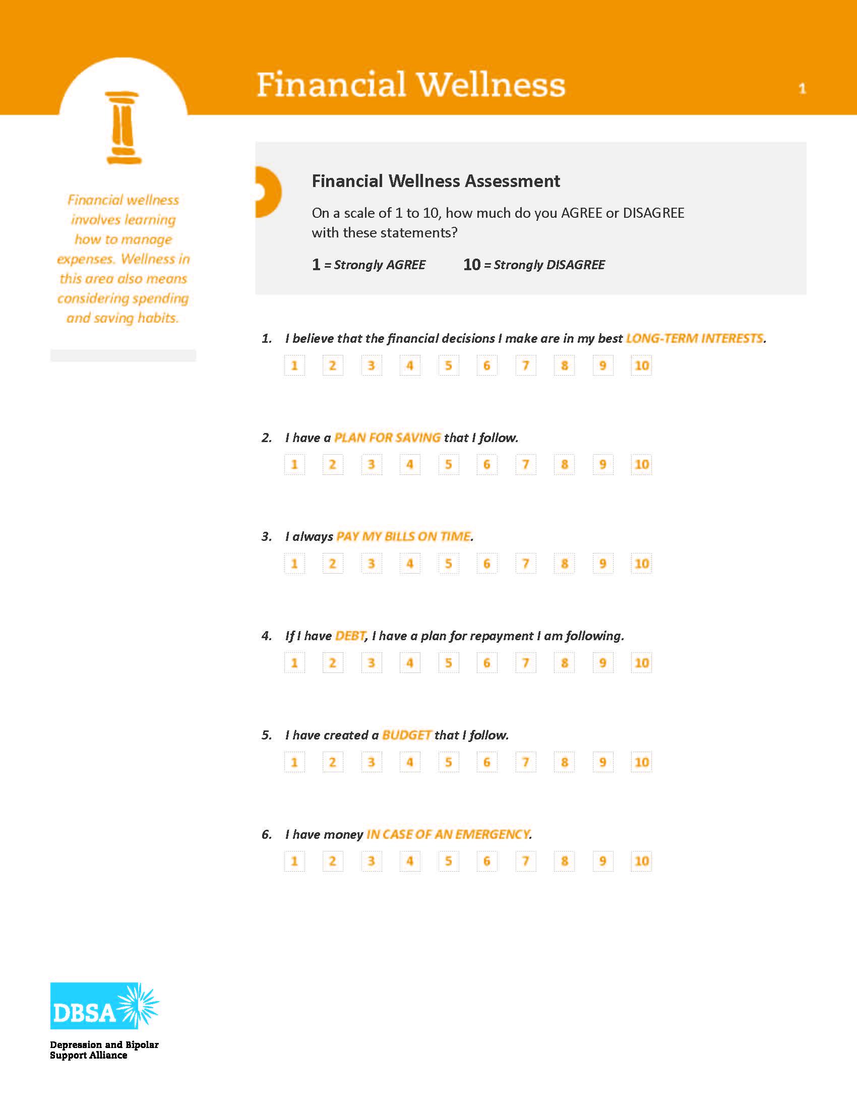 Dbsa Wellness Wheel Your Financial Wellness