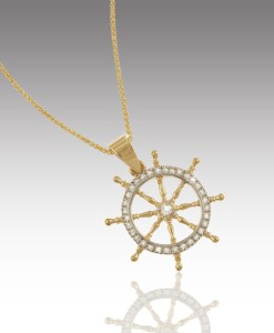 Diamond Ship's Wheel Pendant