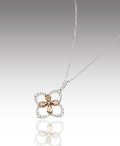 Champagne Diamond Clover Pendant