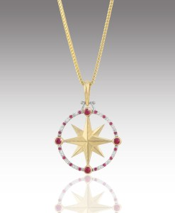 Ruby and Diamond Compass Rose Pendant