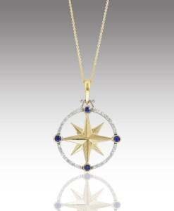 Sapphire and Diamond Compass Rose Pendant