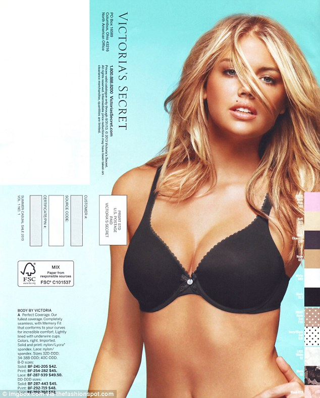 Kate Upton is 'furious' that her photo from 2011 was used in the new Victoria's Secret catalog (pictured), without her knowledge. Just last year, the lingerie giant branded her look 'too obvious