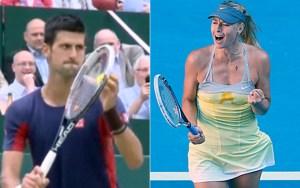 Novak Djokovic impersonates Maria Sharapova